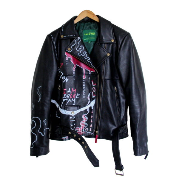 front of leather jacket