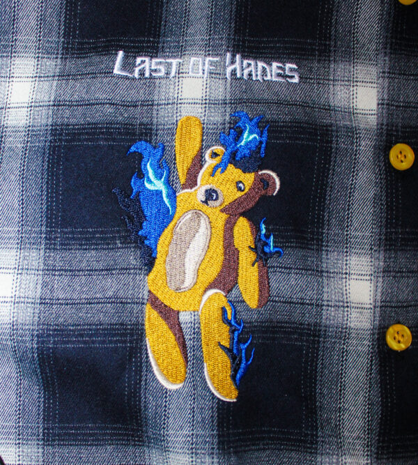 velour flannel bear embroidery shirt