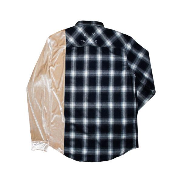 flannel back beige velour shirt