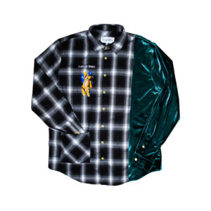 green velour flannel shirt