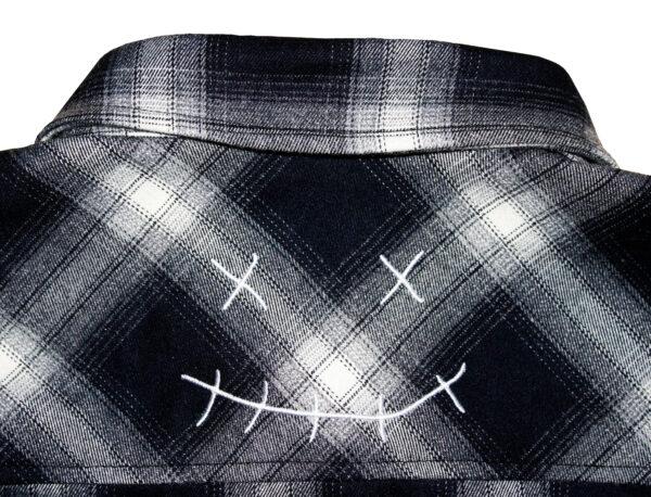 velour flannel back logo shirt