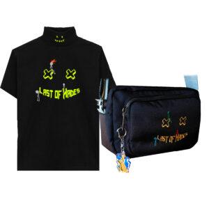 neon t-shirt and bag