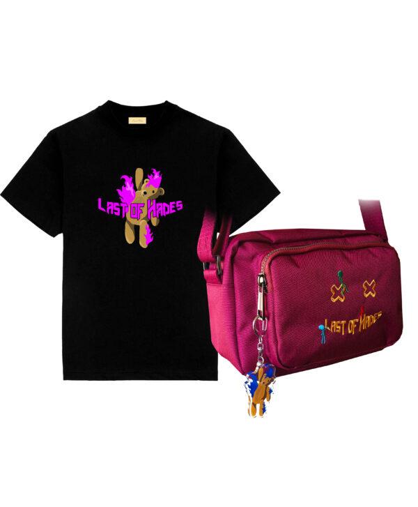 pink t-shirt and bag
